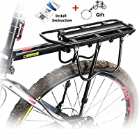 West Biking Universal Adjustable Equipment Stand Footstock Bicycle Carrier Rack with Reflective Logo, 110 lb Capacity, Black