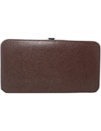 Glossy Snakeskin Texture Faux Patent Leather Flat Hard Clutch Wallet