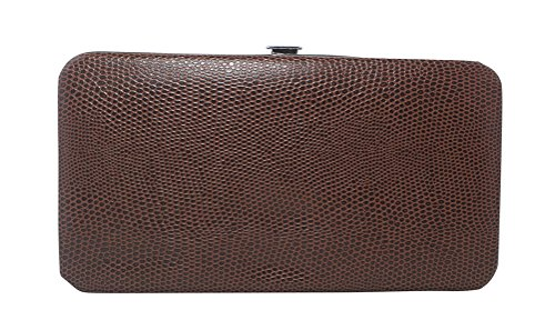 Texture Snakeskin Clutch Leather Patent Glossy Faux Chicastic Wallet Brown Hard Flat Small R16x5qTWEw