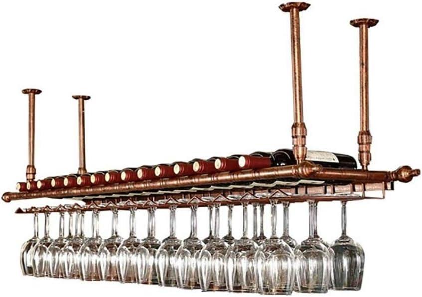 WZB天井赤ワインカップホルダーバーぶら下げ高ガラスホルダーホーム逆さま錬鉄グレープワイングラスホルダー(サイズ:60X30CM)