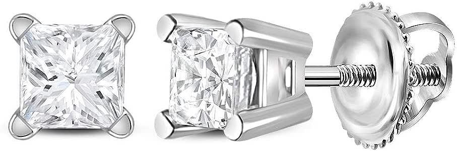 .39cttw 13245 I2 Mia Diamonds 14kt White Gold Unisex Princess Diamond Solitaire Stud Earrings Mia Diamonds and Co
