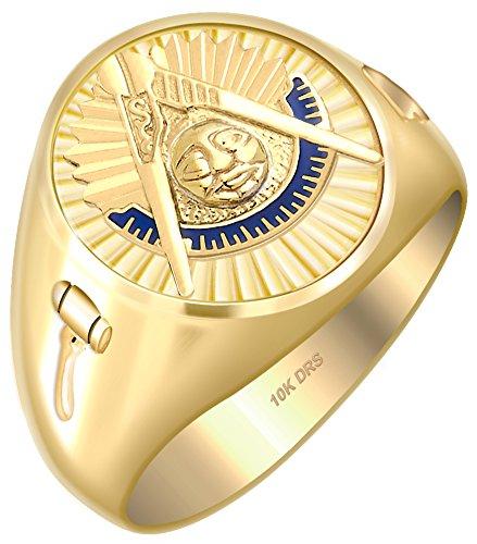 US Jewels And Gems Customizable Men's Past Master 10k Yellow Gold Freemason Masonic Ring, Size 10 10k Yellow Gold Masonic Ring