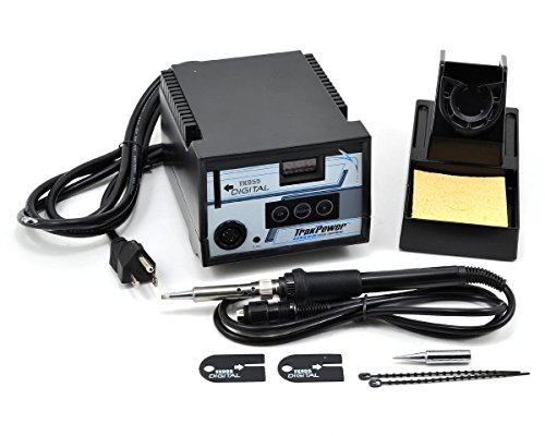 TrakPower TK955 Digital Soldering Iron with Iron Stand, Sponge and Ready-to-Apply Decals (Best Digital Soldering Station)