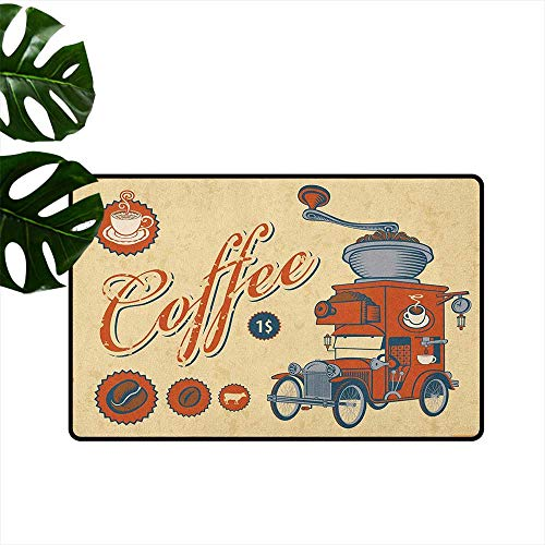 Retro,Kitchen Floor mats Artsy Commercial Design of Vintage Truck with Coffee Grinder Old Fashioned 16