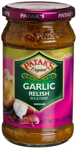 Patak's Garlic Relish, Medium, 10.6-Ounce Glass Jars (Pack of 6)