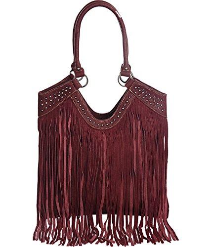 Trinity Ranch Fringe Tote Burgundy Large Suede-Fringed Shoulder Bag