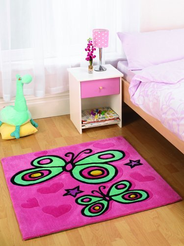 Flair Rugs Kiddy Play Butterfly Childrens Rug, Pink, 90 x 90 Cm by Flair Rugs