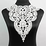 Yontree Neckline Collar Costume Venise Lace Applique Bridal Wedding Applique White 1 Pc