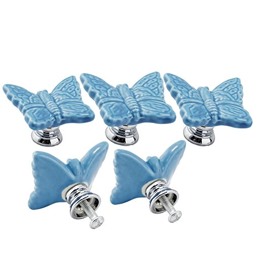 Ltvystore 5PCS Blue Ceramic Butterfly Cabinet Knobs,Drawe...