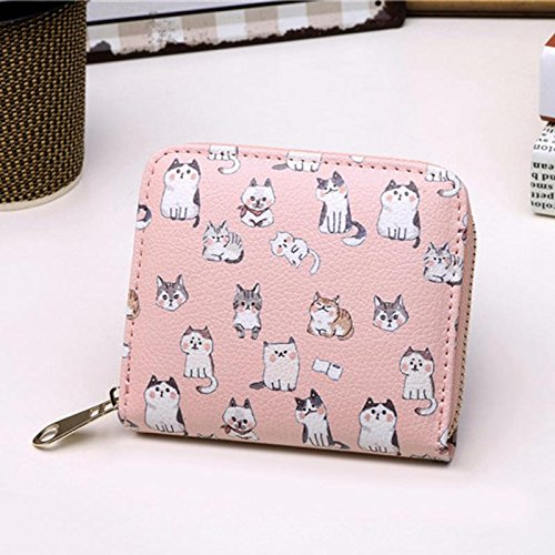 JD Million shop Vintage Cute Anime Cat Leather Women Slim Mini Wallet Girl Small Purse Female Coin Credit Card Holder Dollar Price