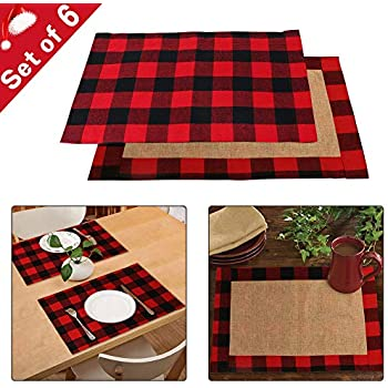 AerWo 6pcs Christmas Buffalo Plaid Placemats, Waterproof Cotton & Burlap Red and Black Buffalo Check Placemats for Christmas Holiday Table Decorations