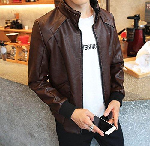Marrón Cremallera Con abrigo Hombre PU Manga Larga Imitación Chaqueta De Bomber Cuero de Chaquetas 7wOaxTq