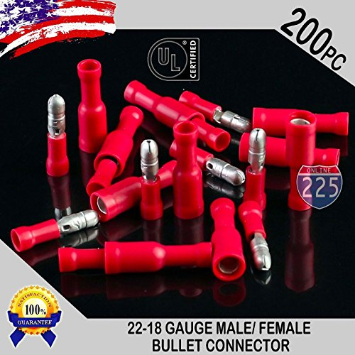 (200 pcs   MALE BULLET & FEMALE CONNECTORS (Red) - 22-18 Gauge / Fully Insulted Vinyl / .156
