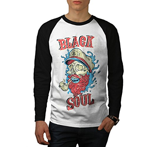 - wellcoda Dead Pirate Soul Skull Men L Baseball LS T-Shirt