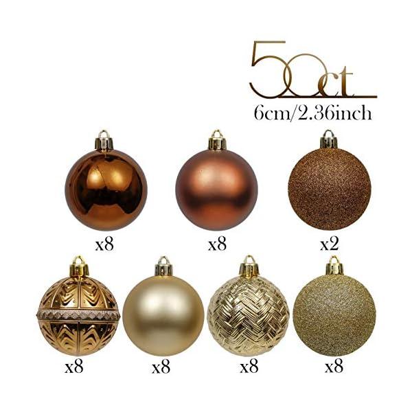 Valery Madelyn Palle di Natale 50 Pezzi 6 cm Palline di Natale, Rame Essenziale e Oro, Ornamenti di Palla di Natale Infrangibili di Base per la Decorazione Dell'Albero di Natale 3 spesavip