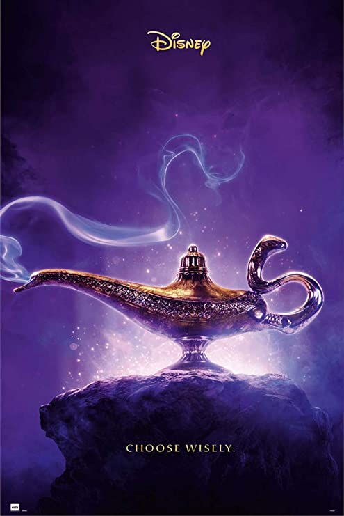 Aladdin 2019 Disney Movie Poster Teaser Lamp Choose Wisely Size 24 Inches X 36 Inches