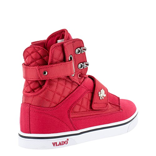 Vlado Footwear Mens Atlas 2 Sneakers Alte In Canvas E Denim Blu / Marrone Rosso / Bianco