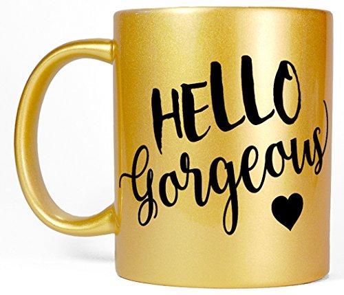 Most Toasty Hello Gorgeous Women's Girly Ceramic Coffee Mug Gift for Her, 11 Ounce, Metallic (Girly Lady Mug)