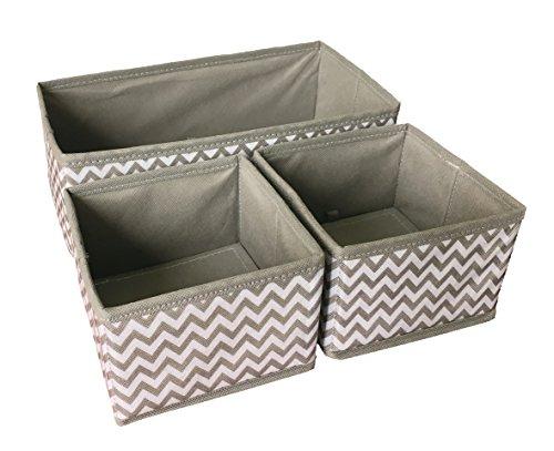 One Drawer Box - Sodynee Foldable Storage Box Drawer Closet Dresser Organizer Cube Basket Bins Containers Divider for Underwear, Bras, Socks, Ties, Scarves, 3 Pack