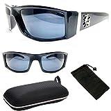 LA Los Angeles Sports Wrap UV400 Dark Lenses Black Sunglasses For Men Women