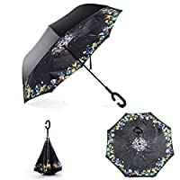 Aplus Trend Newest Windproof Double Layer C-Handle Inverted Umbrella with Fabric Cover Reverse Umbrella for UV Protection & Rain | Outdoor Car Umbrella for Women & Men