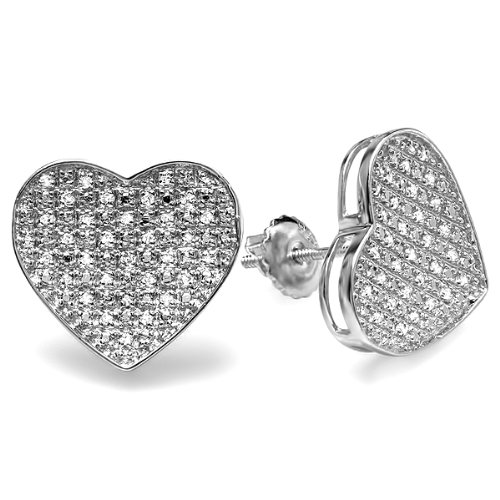 Dazzlingrock Collection 0.25 Carat (ctw) Round Diamond Heart Shape Hip Hop Iced Stud Earrings 1/4 CT, Sterling Silver