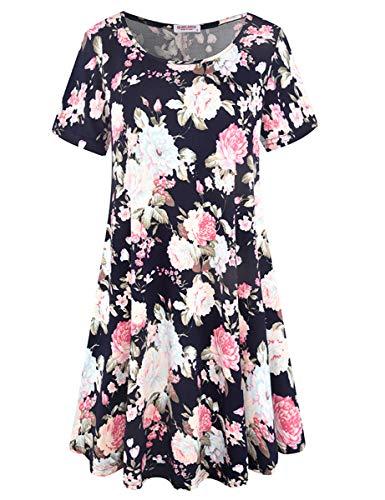 (BELAROI Women's Summer Tunic Top Floral Print Swing T-Shirt Loose Dress(S,Flower Navy 1))