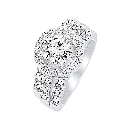 Round Cut Cubic Zirconia Engagement Ring Sterling Silver Triple Band Bridal Set – 6