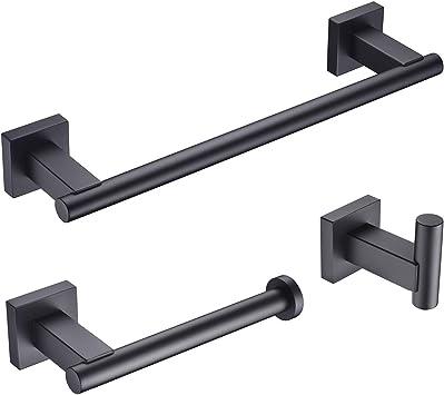 """4 Peças Conjunto De Acessórios Para Banheiro De Hardware 24 /""""Toalha Barra Em Casa preto Fosco"""