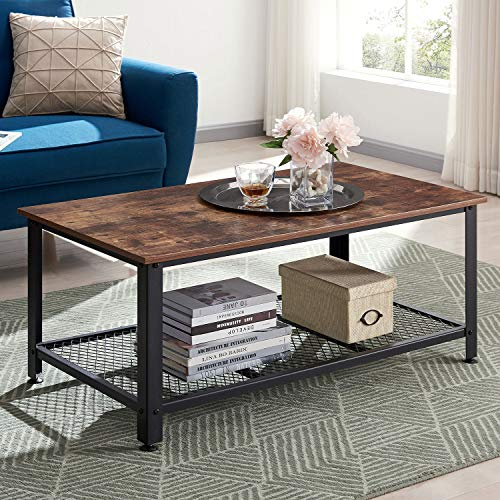 VINEXT Industrial Coffee Table with Storage Shelf, Vintage Wooden Board with Stable Metal Frame, Wood Look Furniture with Rustic Coffee Table for Living Room, Retro Brown