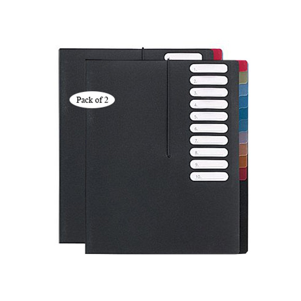 VLB 10-Tab Letter-Size Project File Organizer, Black 30210 (Pack of 2)