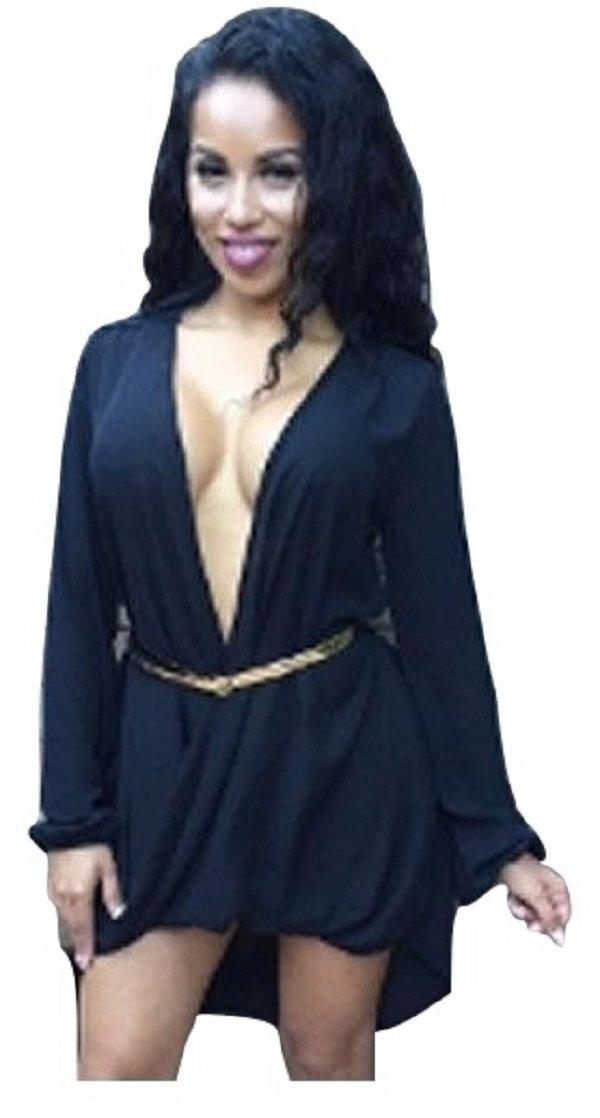 Nero asimmetrici orlo maglia con cintura mini vestito Club Wear Pole Dance Stripper vestito taglia UK 10–12EU 38–40