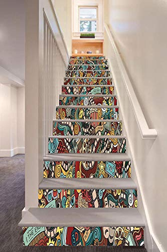 Doodle 3D Stair Riser Stickers Removable Wall Murals Stickers,Cinema Items Combined in an Abstract Style Popcorn Movie Reel The End Theatre Masks Decorative,for Home Decor 39.3
