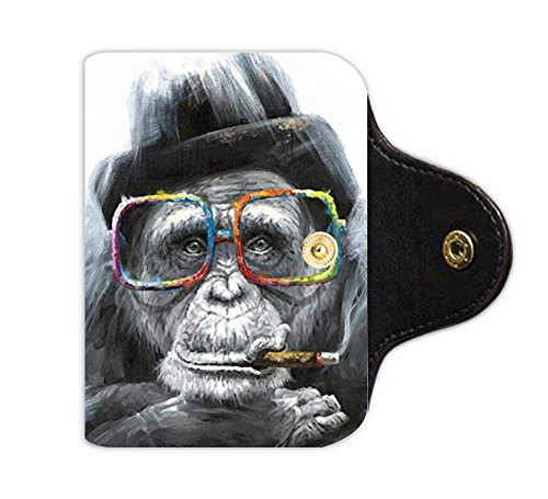 Holder Card Monkey (LiFei Business Gorilla Monkey Thinker Custom Leather Card Holder)