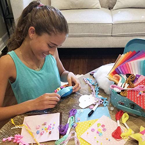 ARTIKA Sewing KIT for Kids, DIY Craft for Girls, The Most Wide-Ranging Kids Sewing Kit Kids Sewing Supplies, Includes a Booklet of Cutting Stencil Shapes for The First Step in Sewing. (Unicorn equipment)