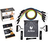 Cheap Actifox Resistance Band Set by Portable Gym Set for Weight Exercise, Fitness Workout, Yoga – 5 Stackable Bands (5–130lbs), Ankle Straps, Handles, Door Anchor, Bag, 80 Exercises Book (Paperback)