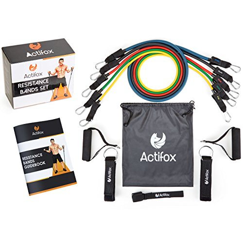 Actifox Resistance Band Set by Portable Gym Set for Weight Exercise, Fitness Workout, Yoga - 5 Stackable Bands (5-130lbs), Ankle Straps, Handles, Door Anchor, Bag, 80 Exercises Book (Paperback)