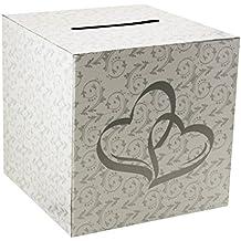 Mememall Fashion White 2 Hearts Wedding Party Card Money Gift Box Wishing Well Reception Decor