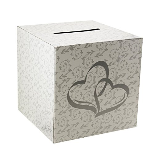 Mememall Fashion White 2 Hearts Wedding Party Card Money Gift Box Wishing Well Reception (Wishing Well Wedding Reception)