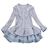 Minshao Kids Girls Knitted Winter Pullovers Crochet Tutu Dress Tops Clothes Sweater For 3-7 Years Old (Gray, 5T(4-5Years Old))