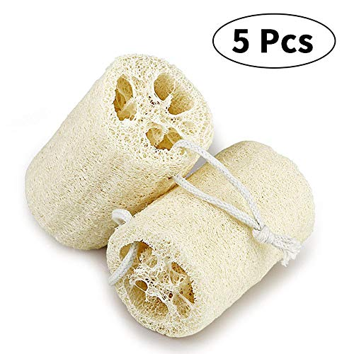 (Loofah Sponge, Volwco 5 Pcs Natural Organic Loofah Sponges, Spa Exfoliating Bath Shower Loofah Body Wash Scrubbers, Buff Away Dead Skin For Smoother, More Radiant Appearance)
