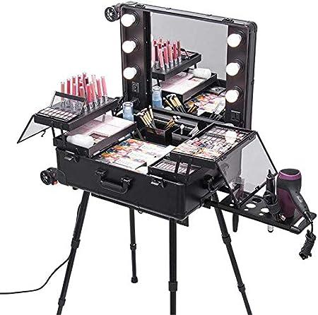 BYCDD Maleta de Maquillaje Profesional, Estuche Cosméticos con Ruedas universales Extraíble Organizador Beauty Maletín Maquillaje Trolley,Black: Amazon.es: Hogar