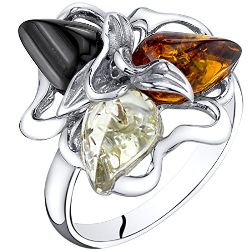 Peora Baltic Amber Star Leaf Ring Multiple Colors Sterling Silver Size ()