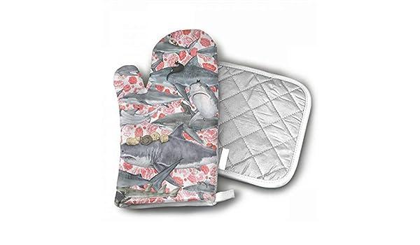 O1rY1bS - Guantes de Horno para Cocina, diseño de Tiburones: Amazon.es: Hogar