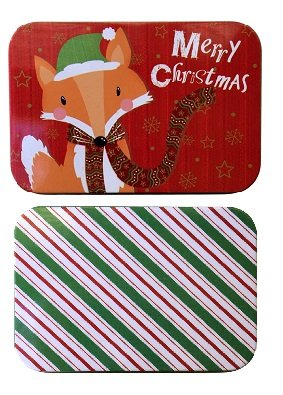 Country Snowman Stocking (Christmas Holiday Gift Card Tin Box Holders Fox and Peppermint Stripes 2 Pack)