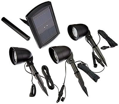 EATON Lighting 3-Light 12X Brighter Black Solar LED Landscape Flood Light Kit