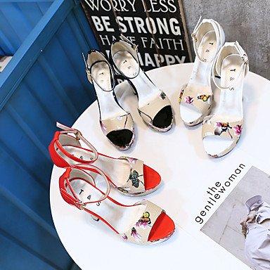 Tacón Confort Rojo LvYuan Más cms Sandalias Negro Robusto PU Blanco Verano Confort y Mujer 12 White EqfwS