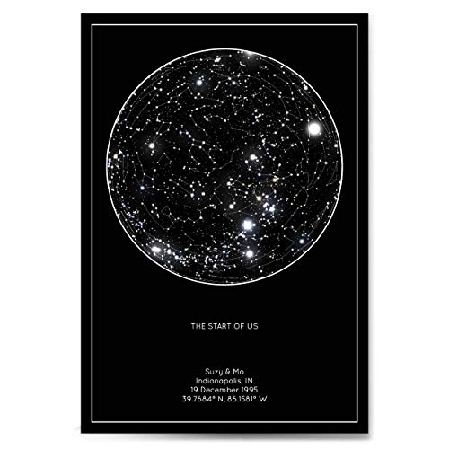 Personalized Star Constellation Map, Minimal Star Chart, Wedding Guest Book Alternative, Custom Engagement Anniversary Present, Night Sky Poster with Frame (Star Constellation Maps Charts)
