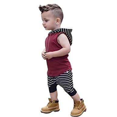 19fbbdfbda1a15 Amazon.com  ♬♬2018 Todaies Summer Baby Boy Hooded Vest Tops+Shorts Pants  2pcs Outfits Toddler Kids Striped Clothes Set  Clothing