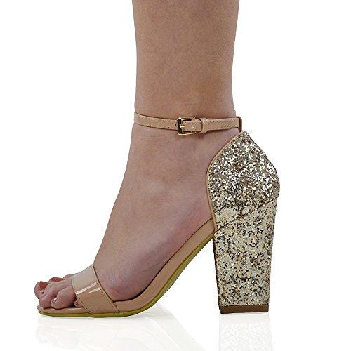 Sandali Sintetici Da Festa Con Strass Glitterati Da Donna In Essex Glam